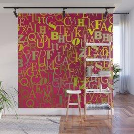Golden alphabet soap over purple background Wall Mural