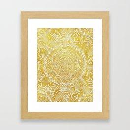 Medallion Pattern in Mustard and Cream Framed Art Print