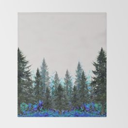 MOUNTAIN FOREST PINES LANDSCAPE  ART Throw Blanket