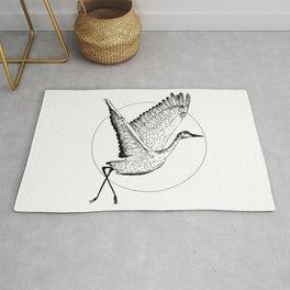 Flying Sandhill Crane Black And White Illustration / Crane Bird Drawing / Flying Crane Rug