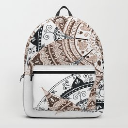 Sepia and Black Flower Mandala Backpack