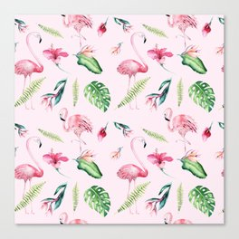 Blush pink green watercolor monster leaves flamingos pattern Canvas Print