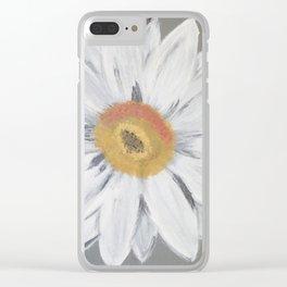 Daisy on Steel Grey Clear iPhone Case