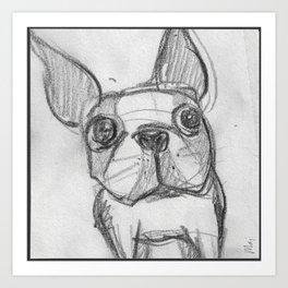 Boston terrier selfie Art Print