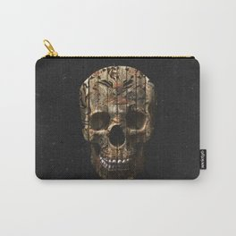 Vintage American Tattoo Skull Wood Stripes Texture Carry-All Pouch
