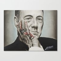 frank underwood Canvas Prints featuring Frank Underwood, House of Cards by Arthur Volper