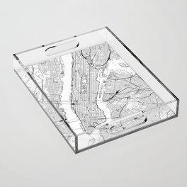 New York City White Map Acrylic Tray