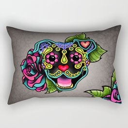 Smiling Pit Bull in Black - Day of the Dead Pitbull Sugar Skull Rectangular Pillow