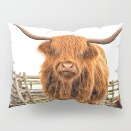 Highland Cow in a Fence Pillow Sham