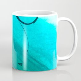 Moving On: an abstract mixed media piece in blue, greens, black and white by Alyssa Hamilton Art Coffee Mug