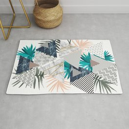 Abstract of geometric patterns with plants and marble II Rug