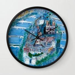 Notre Dame, Ile de la cite, River Seine, Paris, France in Moonlight landscape painting by Jéan Dufy Wall Clock