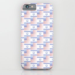 Mix of flag : usa and israel 2 with color gradient iPhone Case