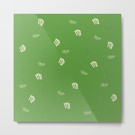 Virgo Pattern - Green Metal Print