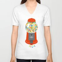 gumball V-neck T-shirts featuring Gumball Machine by Haley Jo Phoenix