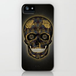 Skull Yellow | Tessellating Skulls Pattern | M. C. Escher Inspired Geometric Artwork by Tessellation iPhone Case