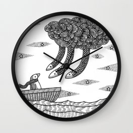 Penguins And A Death Cloud Wall Clock