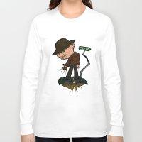 freddy krueger Long Sleeve T-shirts featuring Freddy Krueger Cartoon by BJ Sizemore