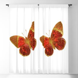 Gold Glitter Scarlet Red Butterfly Design Blackout Curtain