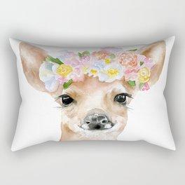 Deer Fawn Floral Watercolor Rectangular Pillow