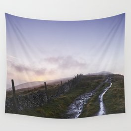 Mountain path and fence at sunset. Derbyshire, UK. Wall Tapestry