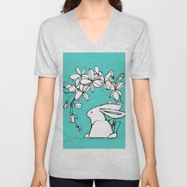 Happy Easter White Bunny and Flowers 2 on Teal Unisex V-Neck