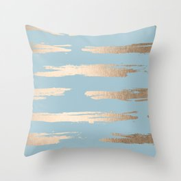 Abstract Paint Stripes Gold Tropical Ocean Sea Blue Throw Pillow