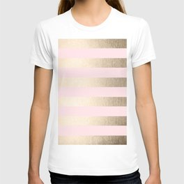 Simply Striped in White Gold Sands and Flamingo Pink T-shirt