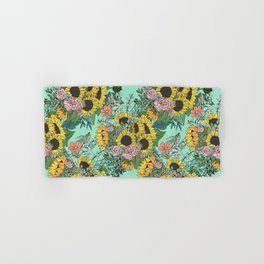 Trendy yellow sunflowers and pink roses mint design Hand & Bath Towel