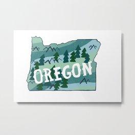 Oregon State Illustrated Map Metal Print