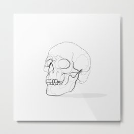 Skull Line Drawing Metal Print
