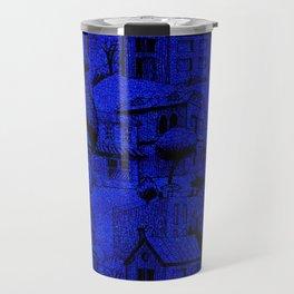 V25 Blue Architecture Design Traditional Moroccan Rug Background. Travel Mug