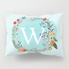 Personalized Monogram Initial Letter W Blue Watercolor Flower Wreath Artwork Pillow Sham