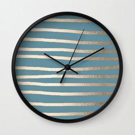 Abstract Drawn Stripes Gold Tropical Ocean Blue Wall Clock