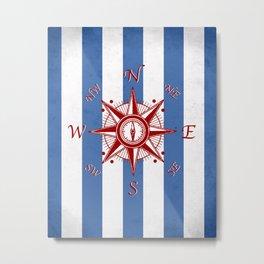 Nautical Compass, Nautical Art Print, Navy, White Stripes, Nautical Print, Ship Compass, Nautical Art, Nautical, Ocean, Sea, Sailing Art Print, Nautical Decor, Kids Room, Nursery, Playroom, Children's Art Print, Compass Metal Print