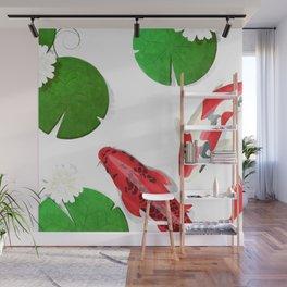 Watercolor koi fish and lotus Wall Mural