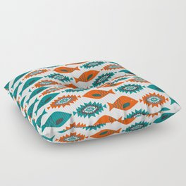 Ethnic pattern with fish Floor Pillow
