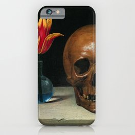 Life, Death, & Time; still life portrait painting with a Skull and Tulip by Philippe de Champaigne iPhone Case