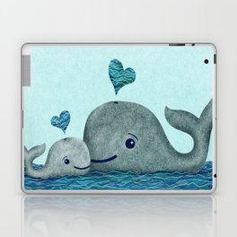 Whale Mom and Baby with Hearts in Gray and Turquoise Laptop & iPad Skin