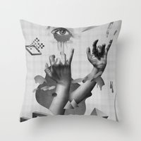 hands Throw Pillows featuring Hands by Oh Yeah Studio