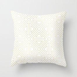 Angled White Gold Throw Pillow