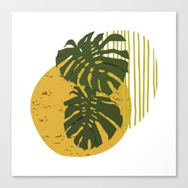 The Two Twin Leaves, Abstract Art Tropical Leaves, Summer Illustration Canvas Print