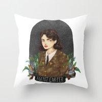 agent carter Throw Pillows featuring Agent Carter by strangehats