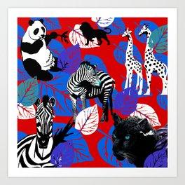 ZEBRA PANDA GIRAFFE CHEETAH LION Art Print