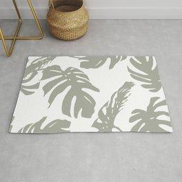 Simply Retro Gray Palm Leaves on White Rug