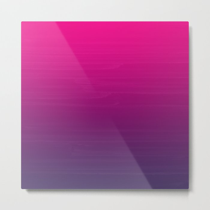 Painted Ombre Gradient Fuschia Pink to Violet Purple Metal Print