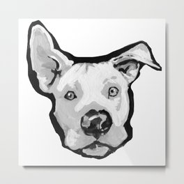 RESCUE ME Pit Bull Pitbull Dog Pop Art black and White Painting by LEA Metal Print