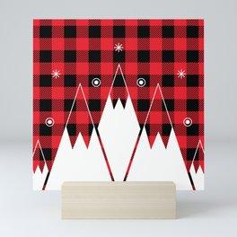 Red Buffalo Plaid Mountains Mini Art Print