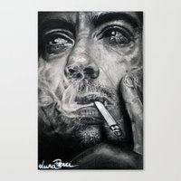 robert downey jr Canvas Prints featuring Robert Downey JR by Luna Perri