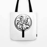 tree of life Tote Bags featuring Life Tree by Frivolous Designs
